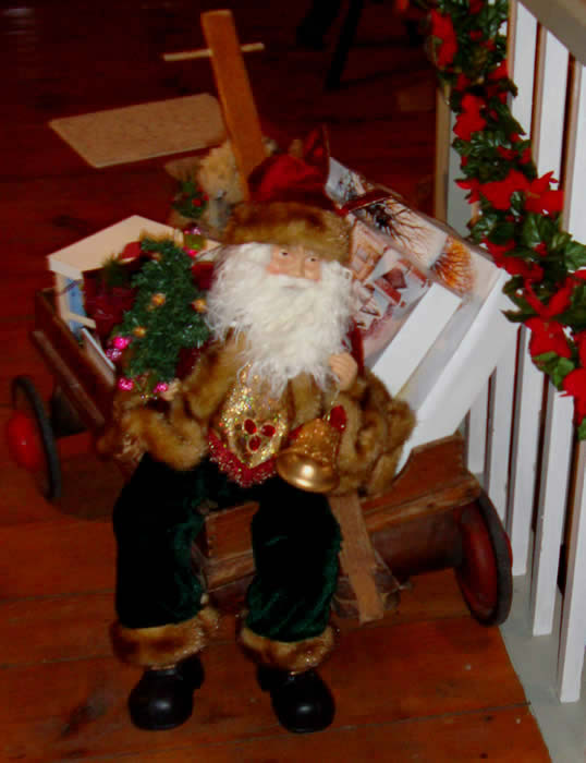 Santa decorates the hall at the Dousman Stagecoach Inn.